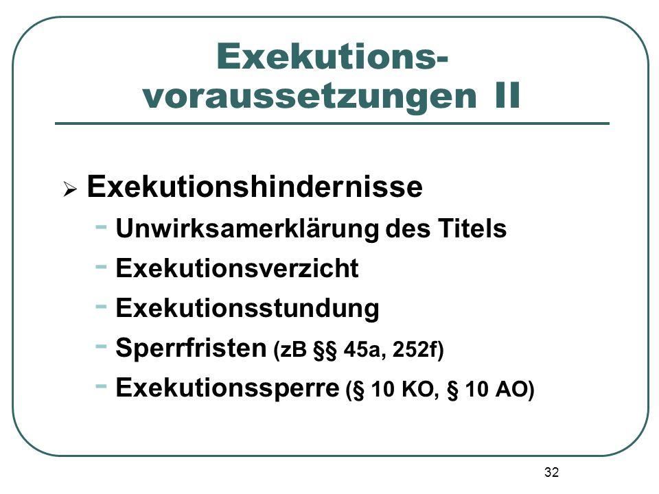 32 Exekutions- voraussetzungen II  Exekutionshindernisse - Unwirksamerklärung des Titels - Exekutionsverzicht - Exekutionsstundung - Sperrfristen (zB