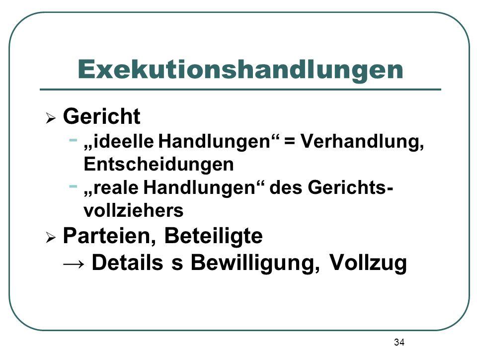 """34 Exekutionshandlungen  Gericht - """"ideelle Handlungen"""" = Verhandlung, Entscheidungen - """"reale Handlungen"""" des Gerichts- vollziehers  Parteien, Bete"""