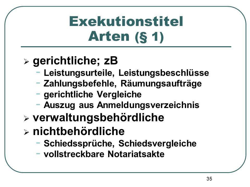 35 Exekutionstitel Arten (§ 1)  gerichtliche; zB - Leistungsurteile, Leistungsbeschlüsse - Zahlungsbefehle, Räumungsaufträge - gerichtliche Vergleich