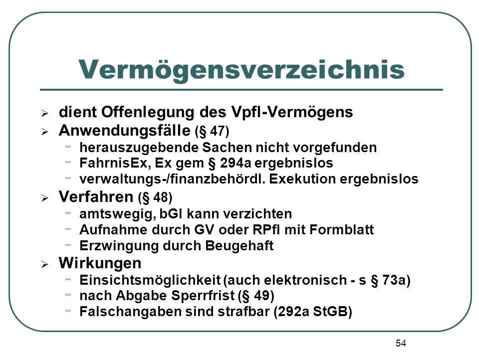 54 Vermögensverzeichnis  dient Offenlegung des Vpfl-Vermögens  Anwendungsfälle (§ 47) - herauszugebende Sachen nicht vorgefunden - FahrnisEx, Ex gem