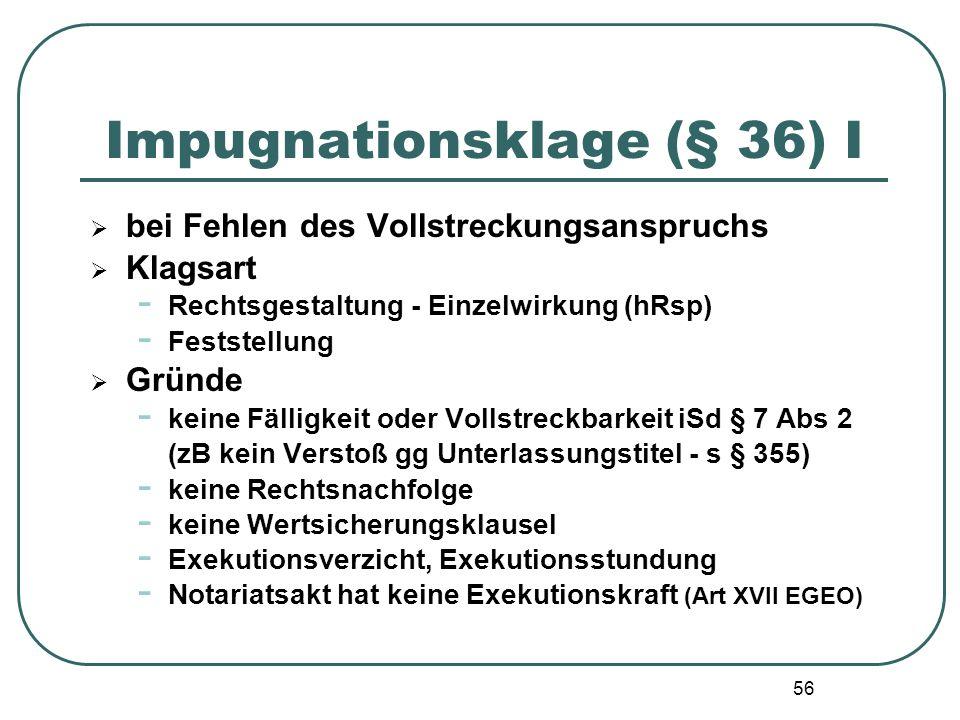 56 Impugnationsklage (§ 36) I  bei Fehlen des Vollstreckungsanspruchs  Klagsart - Rechtsgestaltung - Einzelwirkung (hRsp) - Feststellung  Gründe -