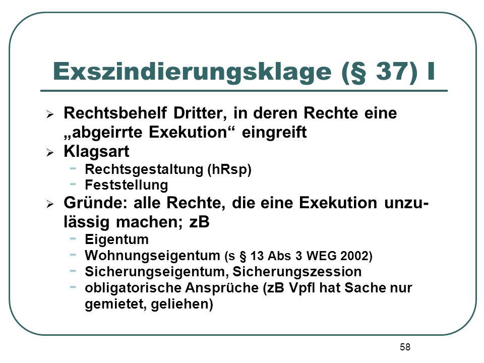"""58 Exszindierungsklage (§ 37) I  Rechtsbehelf Dritter, in deren Rechte eine """"abgeirrte Exekution"""" eingreift  Klagsart - Rechtsgestaltung (hRsp) - Fe"""
