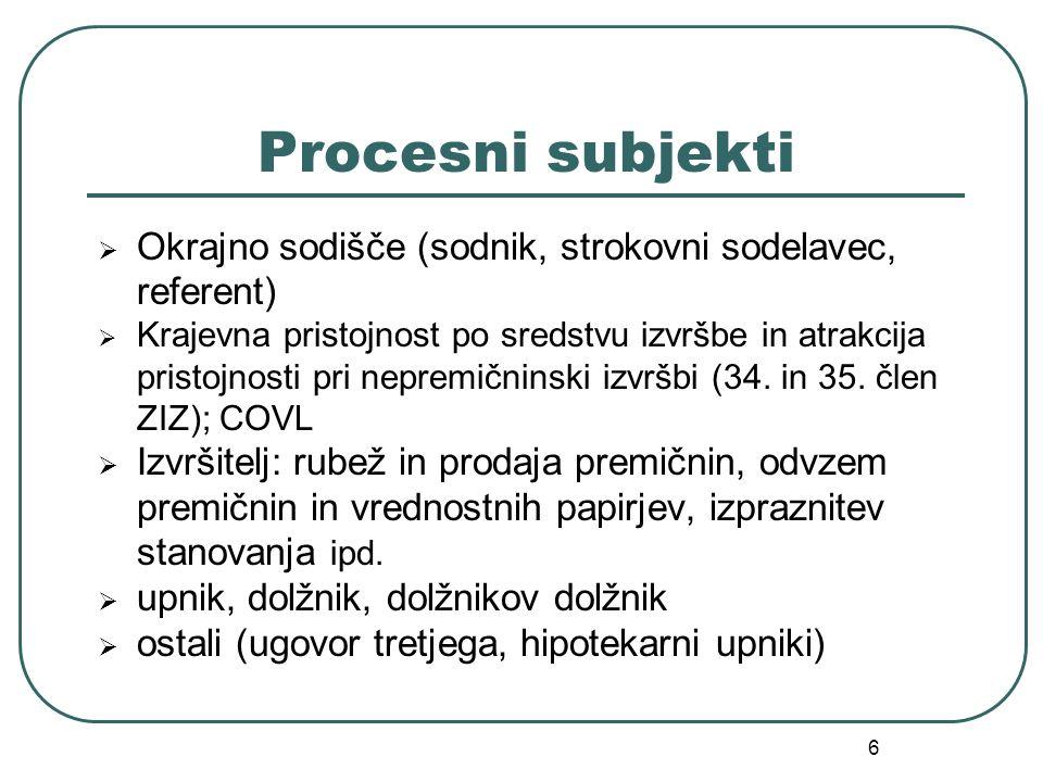 6 Procesni subjekti  Okrajno sodišče (sodnik, strokovni sodelavec, referent)  Krajevna pristojnost po sredstvu izvršbe in atrakcija pristojnosti pri