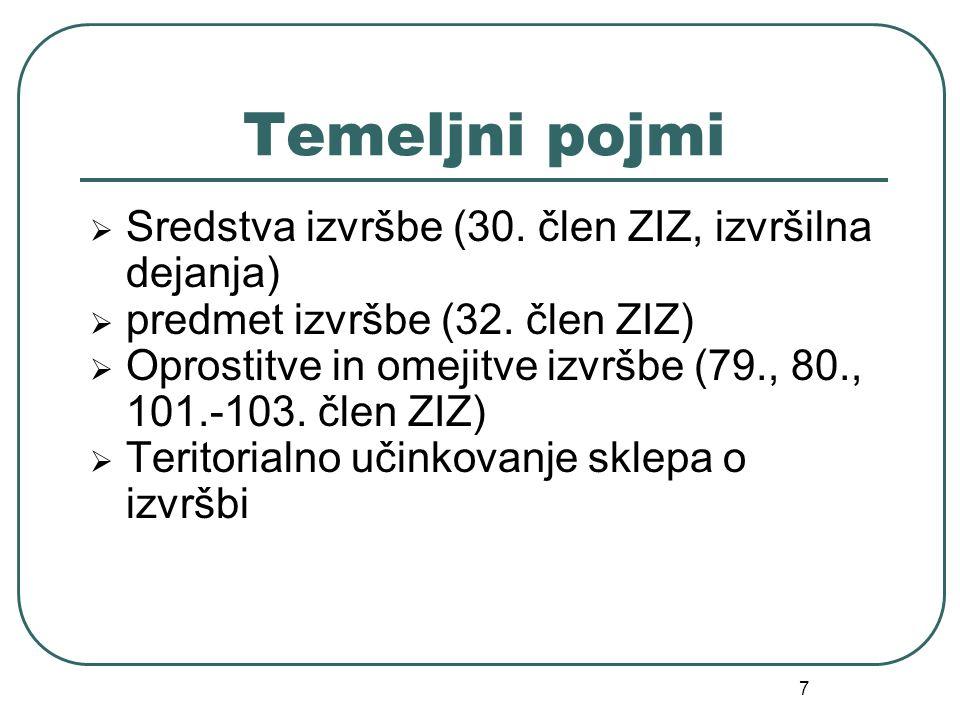 7 Temeljni pojmi  Sredstva izvršbe (30. člen ZIZ, izvršilna dejanja)  predmet izvršbe (32. člen ZIZ)  Oprostitve in omejitve izvršbe (79., 80., 101