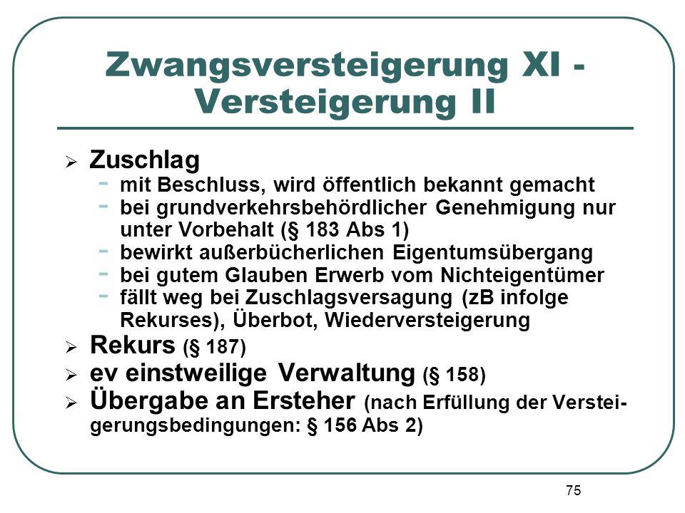 75 Zwangsversteigerung XI - Versteigerung II  Zuschlag - mit Beschluss, wird öffentlich bekannt gemacht - bei grundverkehrsbehördlicher Genehmigung n