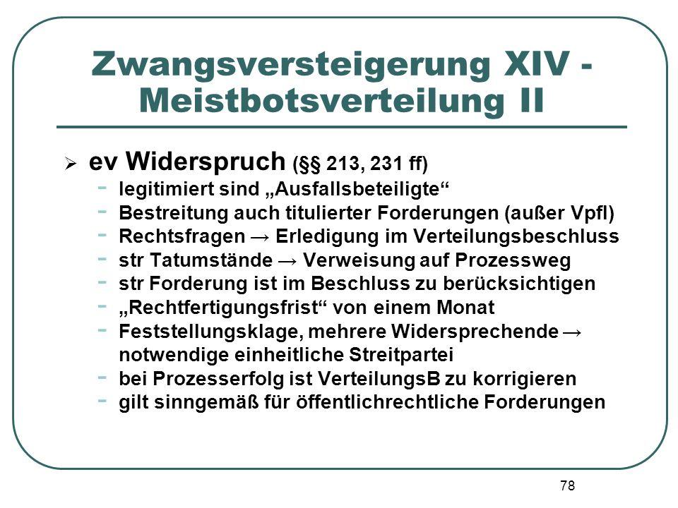 """78 Zwangsversteigerung XIV - Meistbotsverteilung II  ev Widerspruch (§§ 213, 231 ff) - legitimiert sind """"Ausfallsbeteiligte"""" - Bestreitung auch titul"""