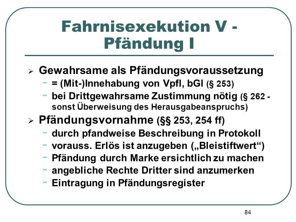 84 Fahrnisexekution V - Pfändung I  Gewahrsame als Pfändungsvoraussetzung - = (Mit-)Innehabung von Vpfl, bGl (§ 253) - bei Drittgewahrsame Zustimmung