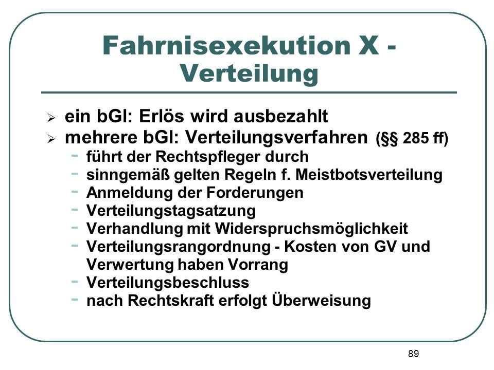 89 Fahrnisexekution X - Verteilung  ein bGl: Erlös wird ausbezahlt  mehrere bGl: Verteilungsverfahren (§§ 285 ff) - führt der Rechtspfleger durch -