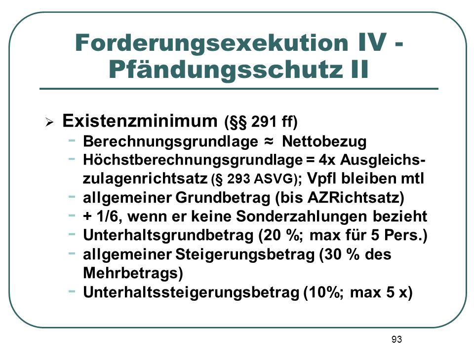 93 Forderungsexekution IV - Pfändungsschutz II  Existenzminimum (§§ 291 ff) - Berechnungsgrundlage ≈ Nettobezug - Höchstberechnungsgrundlage = 4x Aus