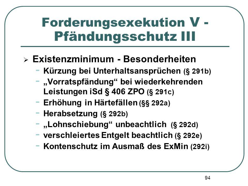 """94 Forderungsexekution V - Pfändungsschutz III  Existenzminimum - Besonderheiten - Kürzung bei Unterhaltsansprüchen (§ 291b) - """"Vorratspfändung"""" bei"""