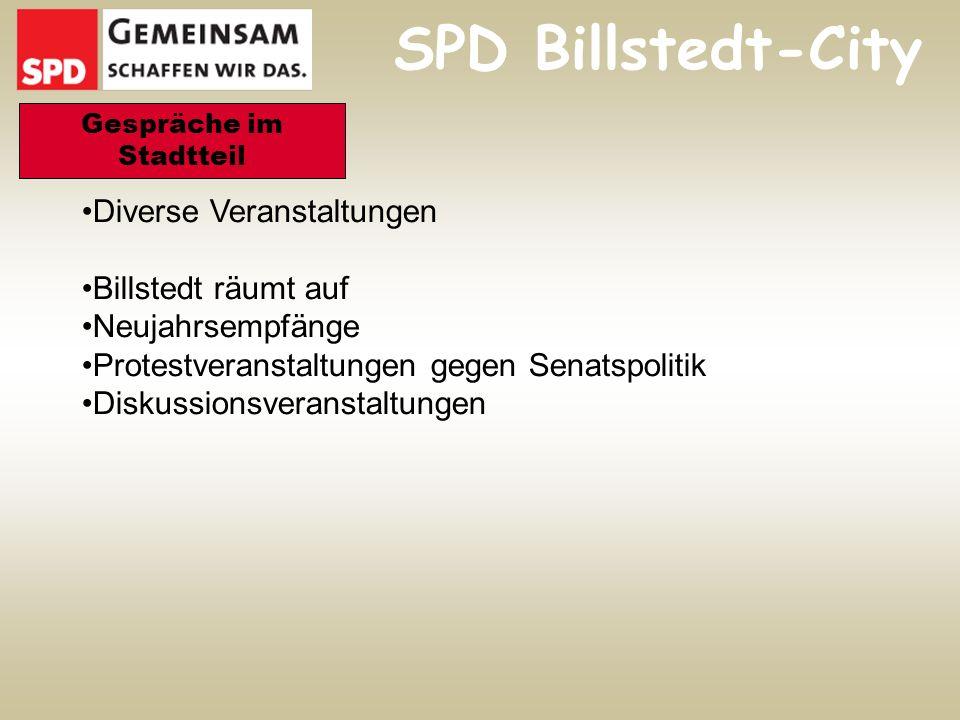 Diverse Veranstaltungen Billstedt räumt auf Neujahrsempfänge Protestveranstaltungen gegen Senatspolitik Diskussionsveranstaltungen Gespräche im Stadtteil