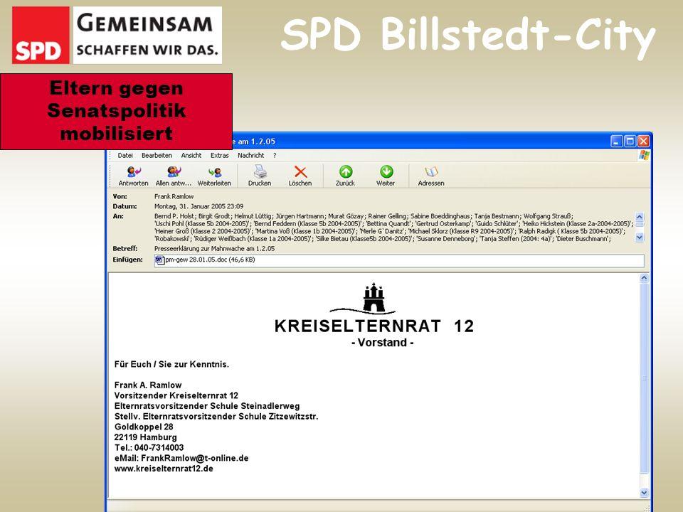 SPD Billstedt-City Eltern gegen Senatspolitik mobilisiert