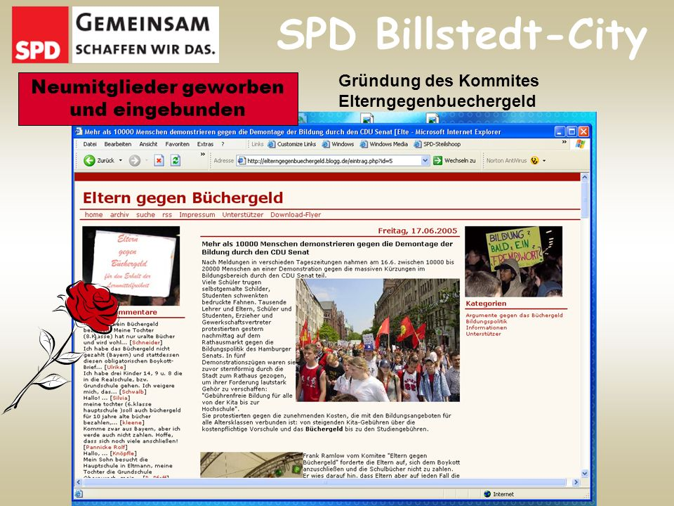 SPD Billstedt-City Neumitglieder geworben und eingebunden Gründung des Kommites Elterngegenbuechergeld