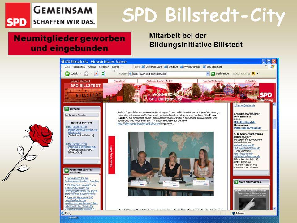 SPD Billstedt-City Neumitglieder geworben und eingebunden Mitarbeit bei der Bildungsinitiative Billstedt