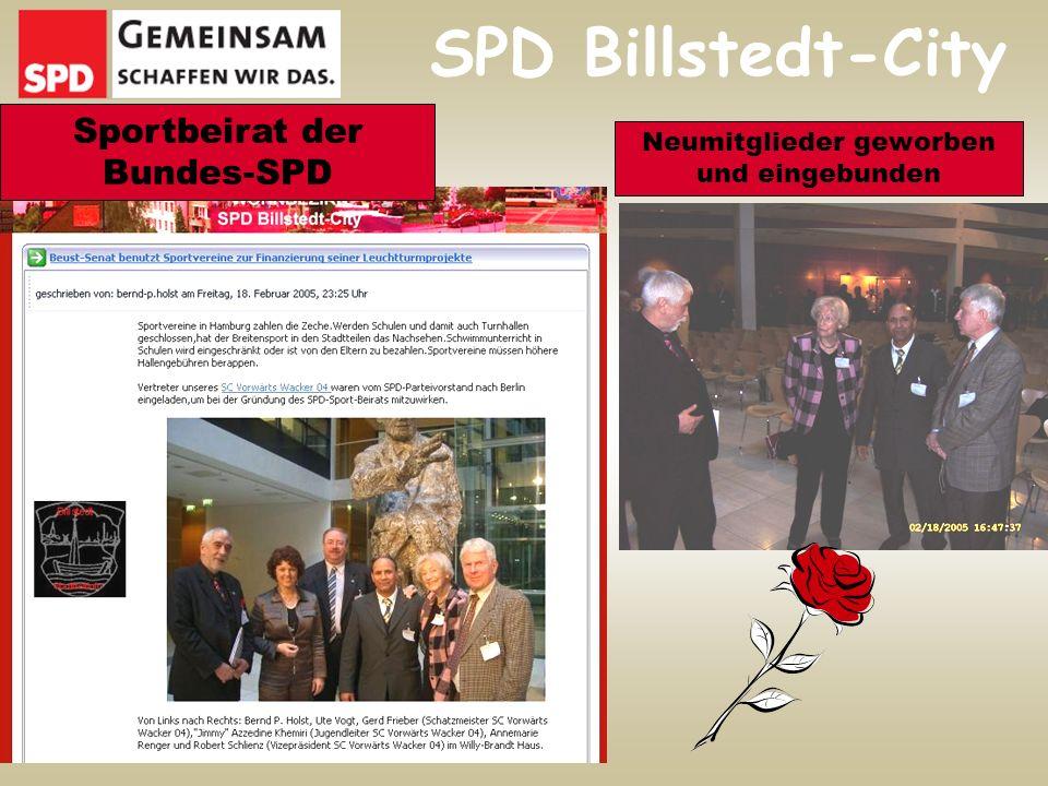 SPD Billstedt-City Sportbeirat der Bundes-SPD Neumitglieder geworben und eingebunden