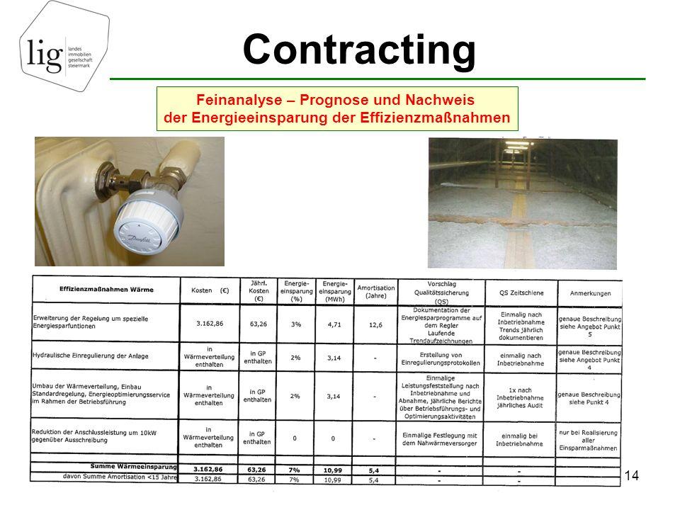 Contracting 14 Feinanalyse – Prognose und Nachweis der Energieeinsparung der Effizienzmaßnahmen