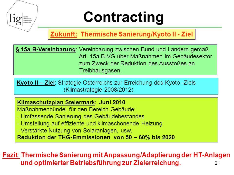 Contracting 21 Zukunft: Thermische Sanierung/Kyoto II - Ziel § 15a B-Vereinbarung: Vereinbarung zwischen Bund und Ländern gemäß Art.