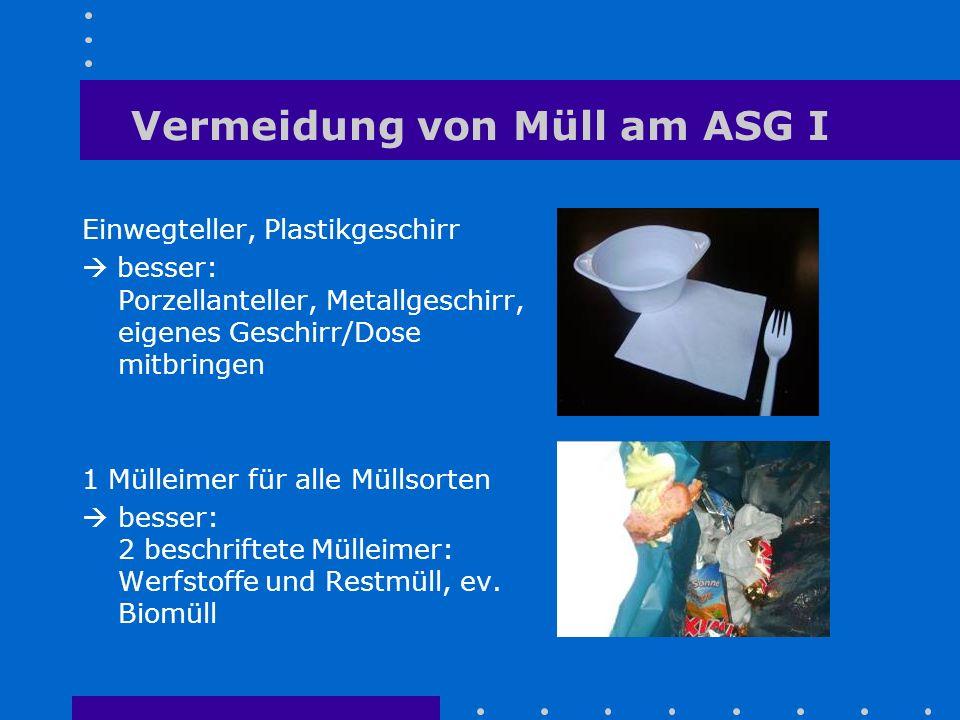 Vermeidung von Müll am ASG I Einwegteller, Plastikgeschirr  besser: Porzellanteller, Metallgeschirr, eigenes Geschirr/Dose mitbringen 1 Mülleimer für