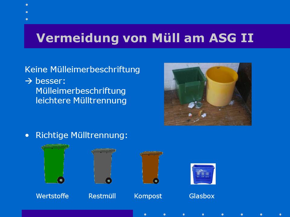 Vermeidung von Müll am ASG II Keine Mülleimerbeschriftung  besser: Mülleimerbeschriftung leichtere Mülltrennung Richtige Mülltrennung: WertstoffeRest