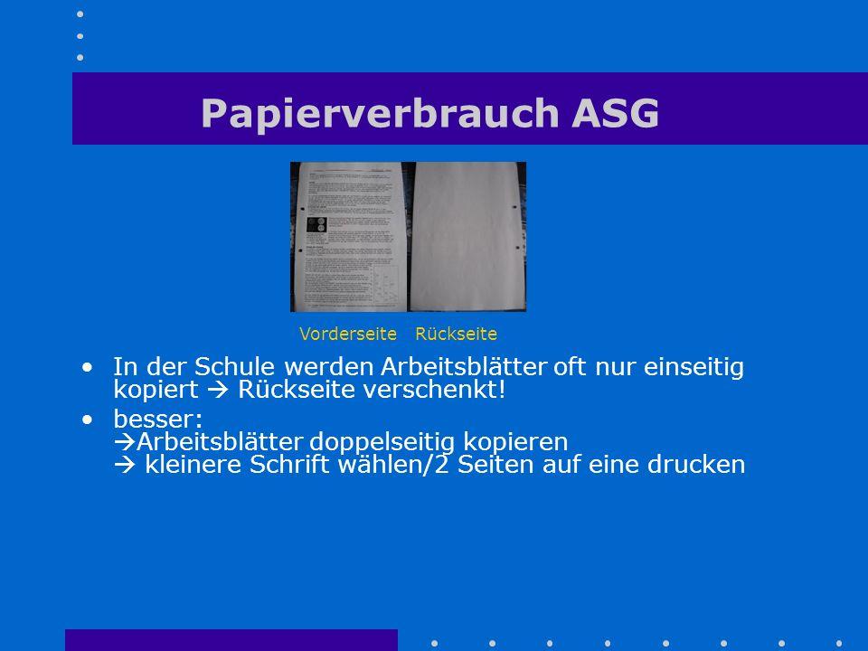 Papierverbrauch ASG In der Schule werden Arbeitsblätter oft nur einseitig kopiert  Rückseite verschenkt! besser:  Arbeitsblätter doppelseitig kopier