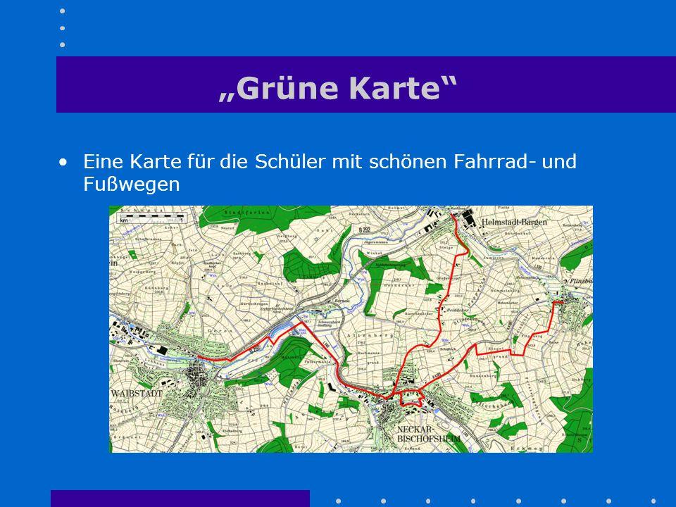 """""""Grüne Karte"""" Eine Karte für die Schüler mit schönen Fahrrad- und Fußwegen"""