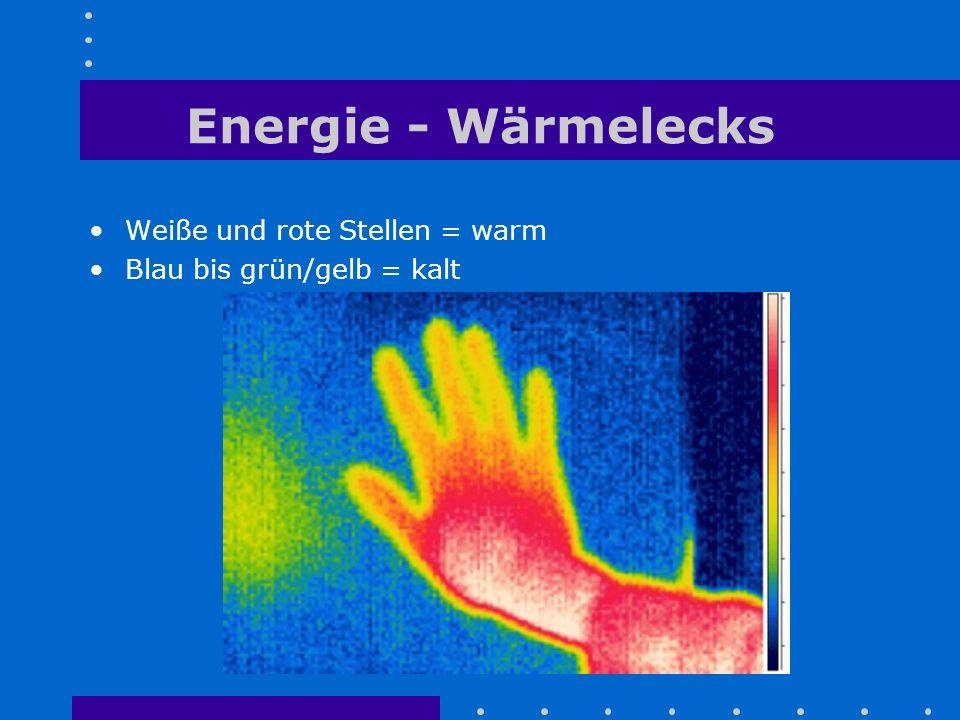 Energie - Wärmelecks Weiße und rote Stellen = warm Blau bis grün/gelb = kalt