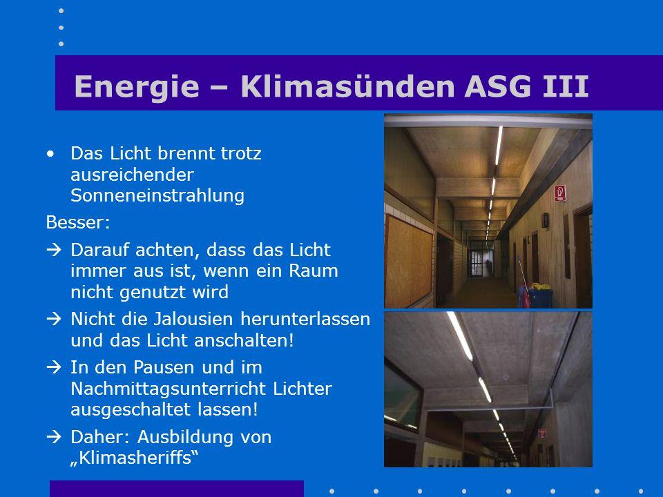 Energie – Klimasünden ASG III Das Licht brennt trotz ausreichender Sonneneinstrahlung Besser:  Darauf achten, dass das Licht immer aus ist, wenn ein