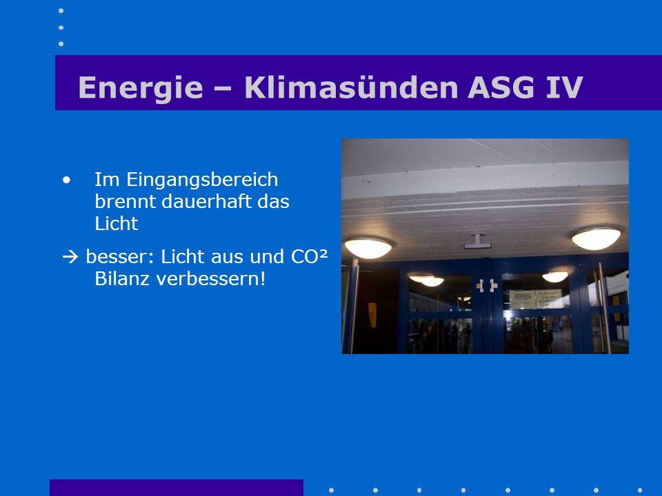 Im Eingangsbereich brennt dauerhaft das Licht  besser: Licht aus und CO² Bilanz verbessern! Energie – Klimasünden ASG IV