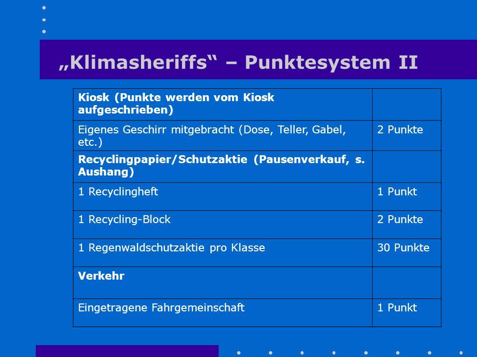 """""""Klimasheriffs"""" – Punktesystem II Kiosk (Punkte werden vom Kiosk aufgeschrieben) Eigenes Geschirr mitgebracht (Dose, Teller, Gabel, etc.) 2 Punkte Rec"""