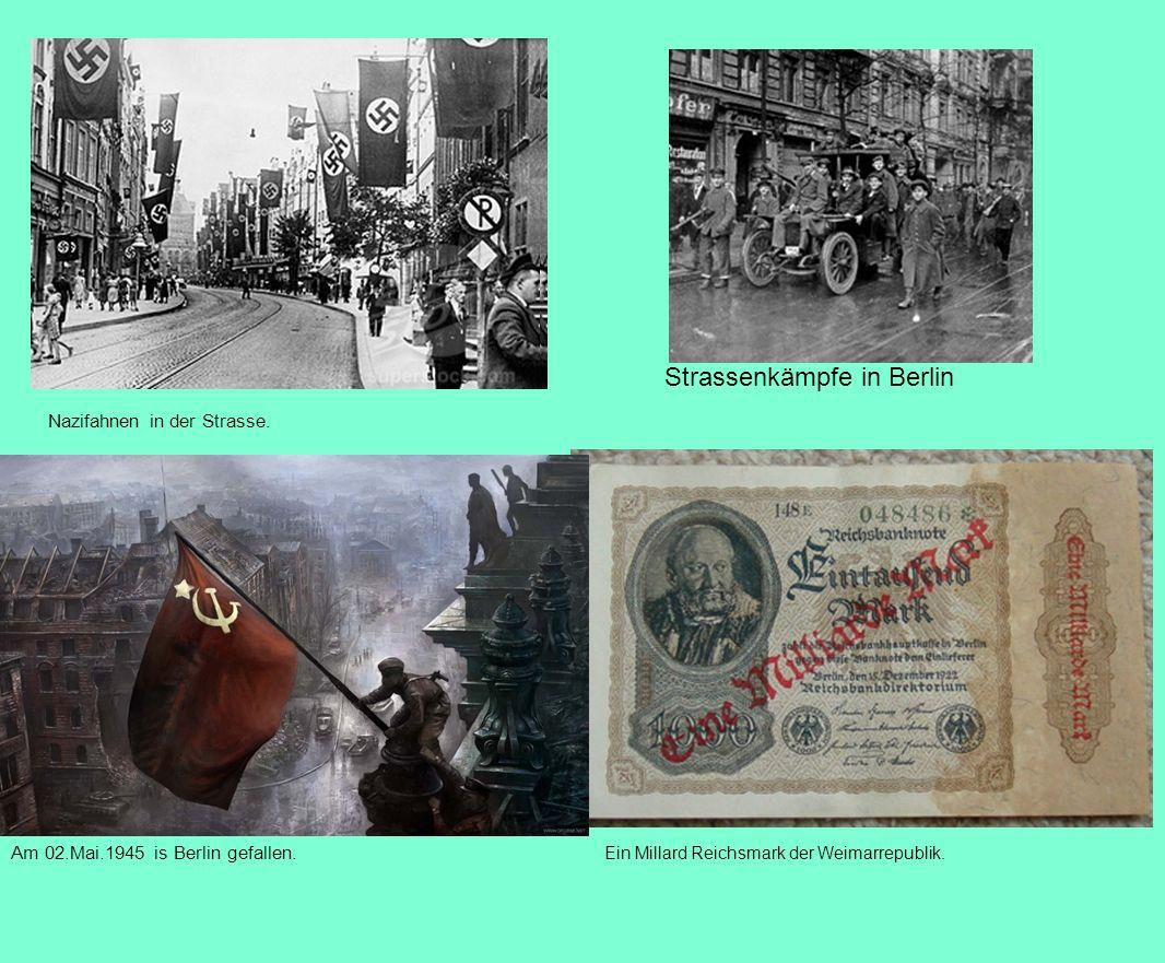 Nazifahnen in der Strasse. Strassenkämpfe in Berlin Ein Millard Reichsmark der Weimarrepublik. Am 02.Mai.1945 is Berlin gefallen.