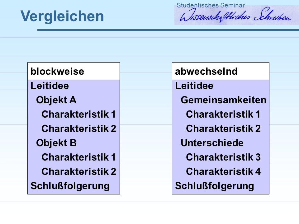Vergleichen Studentisches Seminar blockweise Leitidee Objekt A Charakteristik 1 Charakteristik 2 Objekt B Charakteristik 1 Charakteristik 2 Schlußfolg