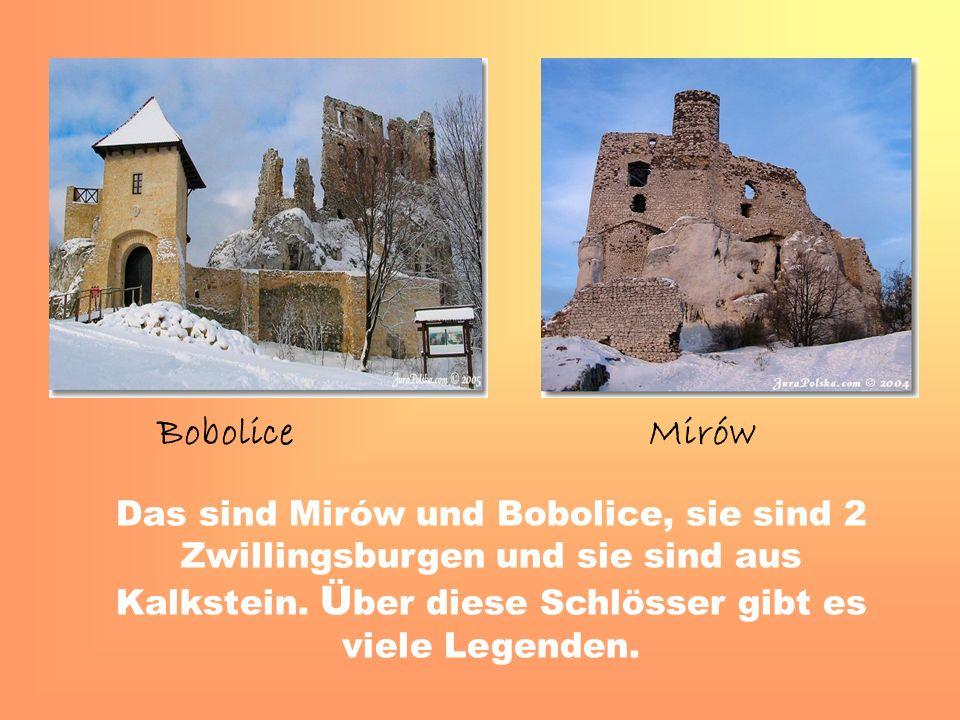 Das sind Mirów und Bobolice, sie sind 2 Zwillingsburgen und sie sind aus Kalkstein.