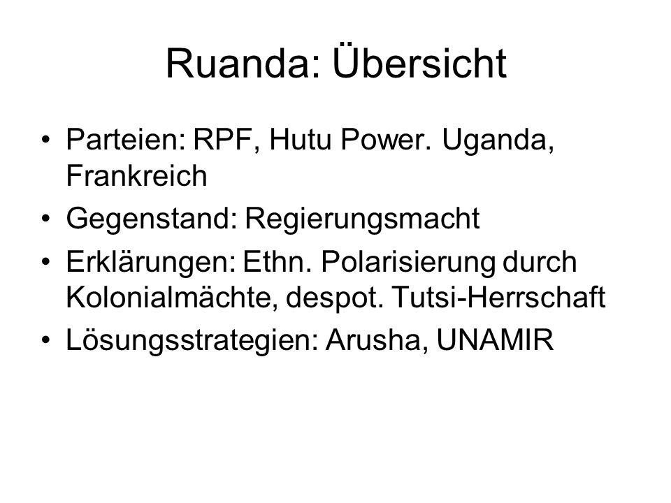 Ruanda: Übersicht Parteien: RPF, Hutu Power. Uganda, Frankreich Gegenstand: Regierungsmacht Erklärungen: Ethn. Polarisierung durch Kolonialmächte, des