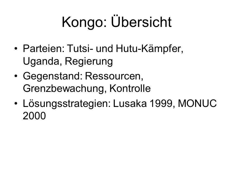 Kongo: Übersicht Parteien: Tutsi- und Hutu-Kämpfer, Uganda, Regierung Gegenstand: Ressourcen, Grenzbewachung, Kontrolle Lösungsstrategien: Lusaka 1999, MONUC 2000