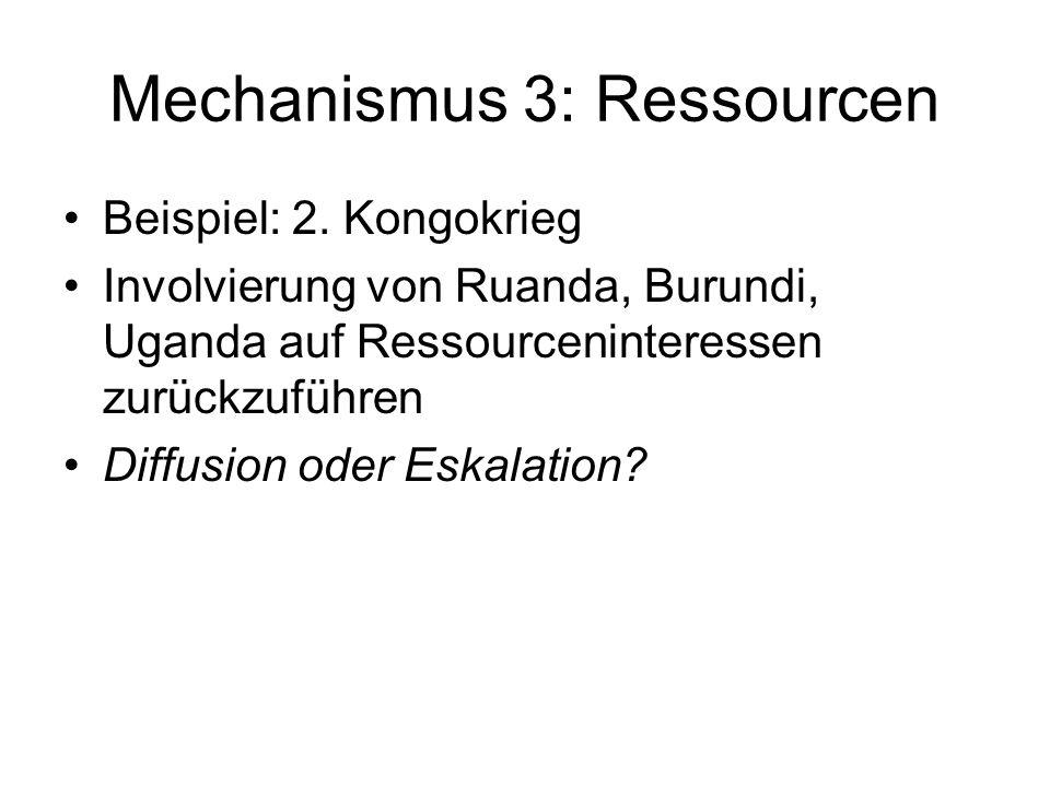Mechanismus 3: Ressourcen Beispiel: 2. Kongokrieg Involvierung von Ruanda, Burundi, Uganda auf Ressourceninteressen zurückzuführen Diffusion oder Eska