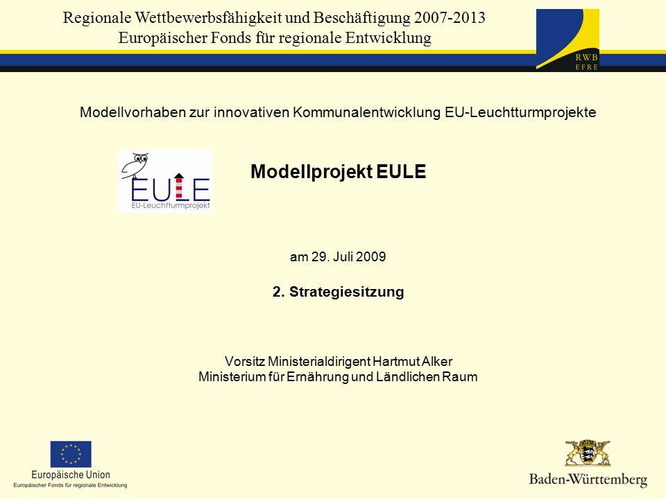 Regionale Wettbewerbsfähigkeit und Beschäftigung 2007-2013 Europäischer Fonds für regionale Entwicklung Modellvorhaben zur innovativen Kommunalentwicklung EU-Leuchtturmprojekte Modellprojekt EULE am 29.