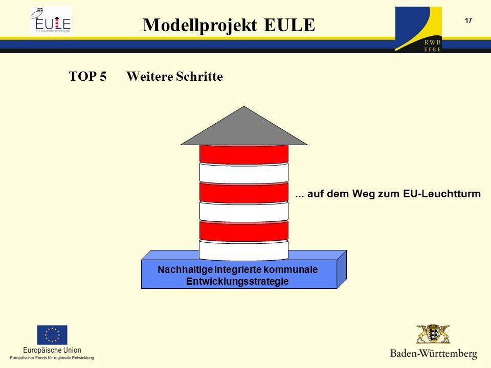 Modellprojekt EULE 17 Nachhaltige Integrierte kommunale Entwicklungsstrategie TOP 5Weitere Schritte...