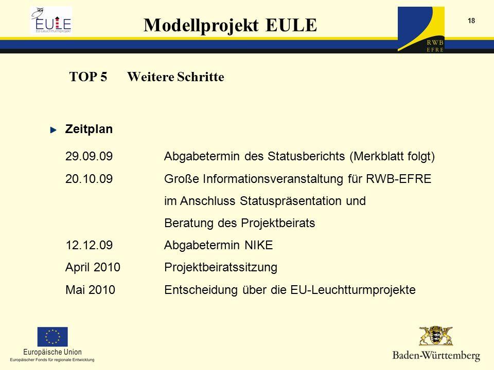 Modellprojekt EULE 18 Zeitplan 29.09.09Abgabetermin des Statusberichts (Merkblatt folgt) 20.10.09Große Informationsveranstaltung für RWB-EFRE im Anschluss Statuspräsentation und Beratung des Projektbeirats 12.12.09Abgabetermin NIKE April 2010Projektbeiratssitzung Mai 2010Entscheidung über die EU-Leuchtturmprojekte TOP 5Weitere Schritte