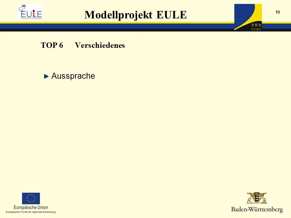 Modellprojekt EULE 19 Aussprache TOP 6Verschiedenes