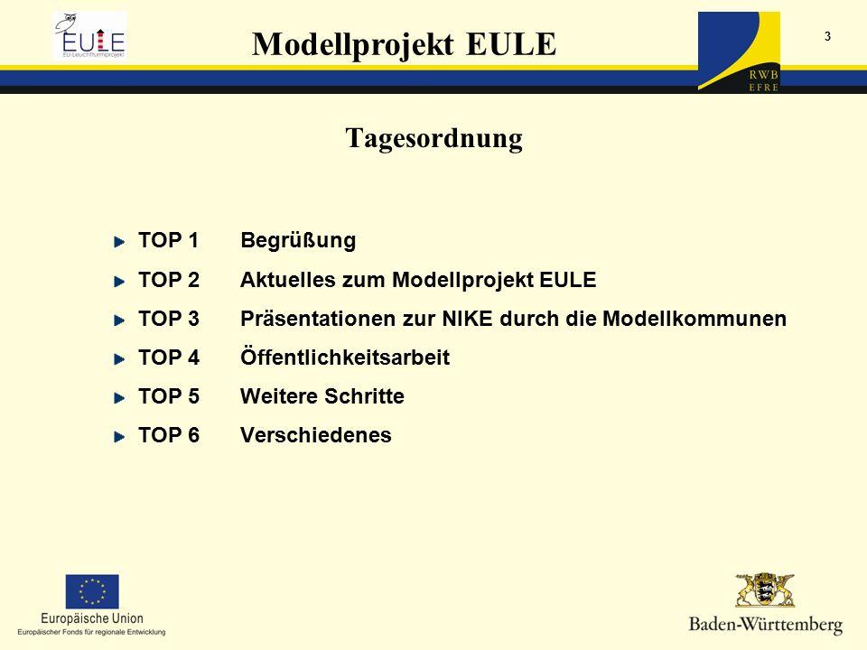 Modellprojekt EULE 3 Tagesordnung TOP 1Begrüßung TOP 2Aktuelles zum Modellprojekt EULE TOP 3Präsentationen zur NIKE durch die Modellkommunen TOP 4Öffentlichkeitsarbeit TOP 5Weitere Schritte TOP 6Verschiedenes
