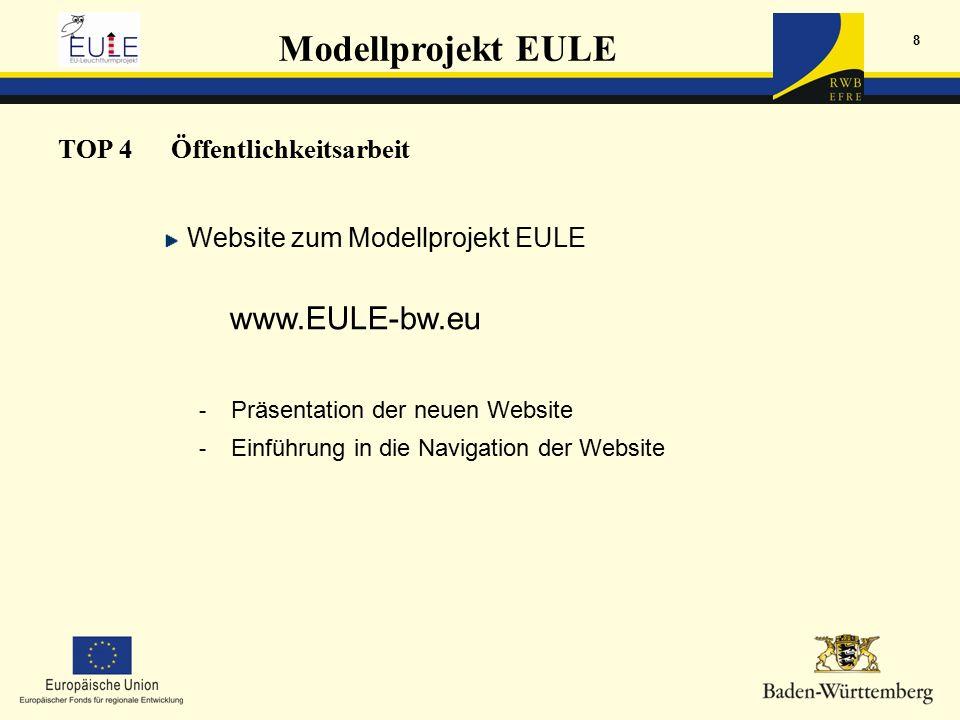 Modellprojekt EULE 8 TOP 4Öffentlichkeitsarbeit Website zum Modellprojekt EULE www.EULE-bw.eu - Präsentation der neuen Website - Einführung in die Navigation der Website