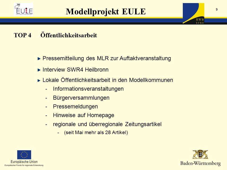 Modellprojekt EULE 9 TOP 4Öffentlichkeitsarbeit Pressemitteilung des MLR zur Auftaktveranstaltung Interview SWR4 Heilbronn Lokale Öffentlichkeitsarbeit in den Modellkommunen - Informationsveranstaltungen - Bürgerversammlungen - Pressemeldungen - Hinweise auf Homepage - regionale und überregionale Zeitungsartikel - (seit Mai mehr als 28 Artikel)