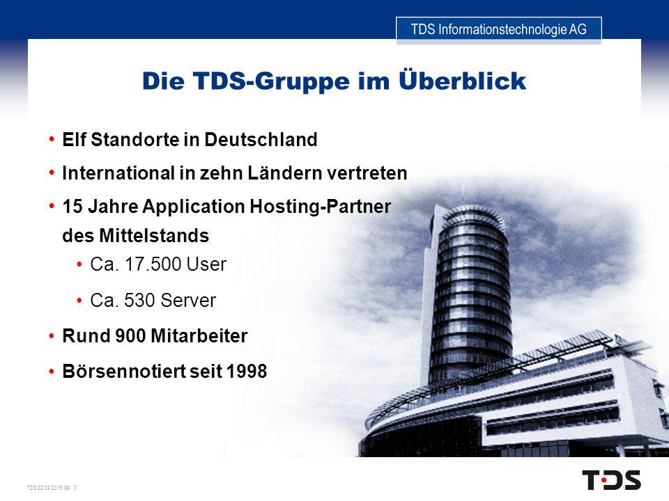 TDS 22.09.2015 XX 3 Die TDS-Gruppe im Überblick Elf Standorte in Deutschland International in zehn Ländern vertreten 15 Jahre Application Hosting-Partner des Mittelstands Ca.