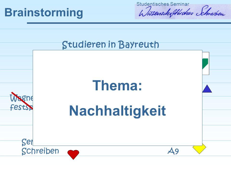 Brainstorming Studentisches Seminar Studieren in Bayreuth Mensaessen Salatbar Seminar Wissenschaftliches Schreiben FAN GEO NWI Nikofete Audimax Nachtleben.
