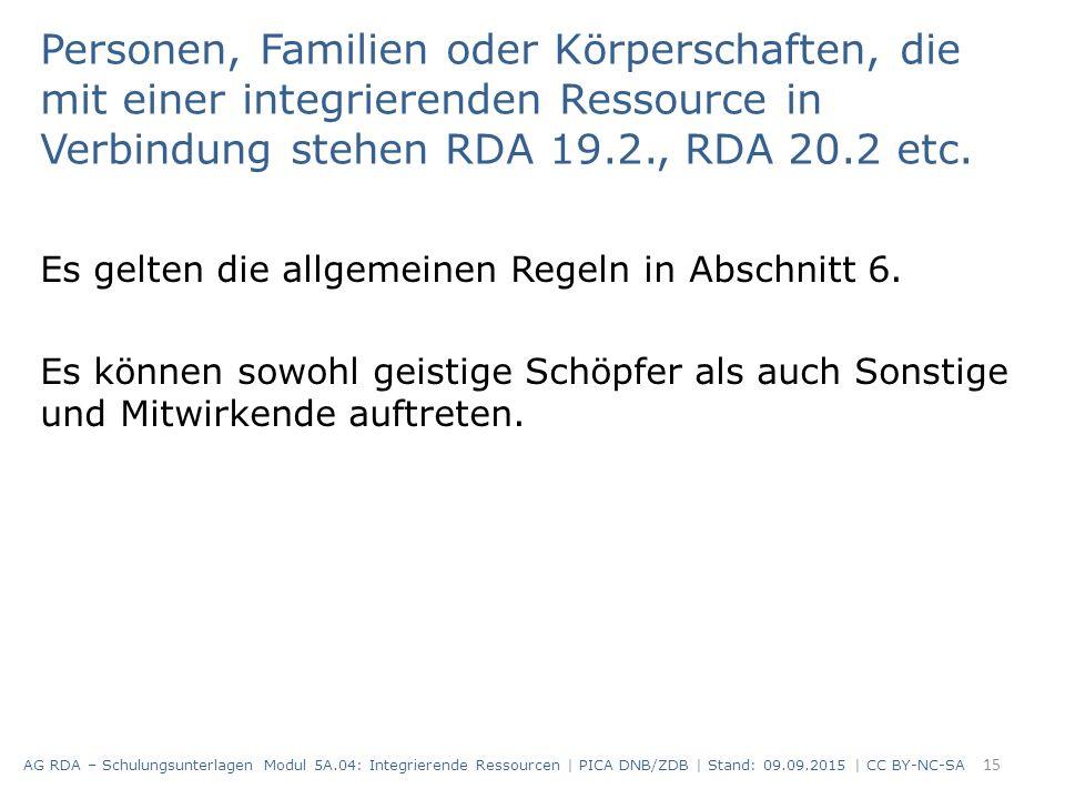 Personen, Familien oder Körperschaften, die mit einer integrierenden Ressource in Verbindung stehen RDA 19.2., RDA 20.2 etc. Es gelten die allgemeinen