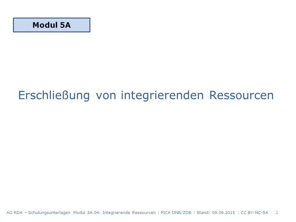 Erschließung von integrierenden Ressourcen Modul 5A 2 AG RDA – Schulungsunterlagen Modul 5A.04: Integrierende Ressourcen | PICA DNB/ZDB | Stand: 09.09