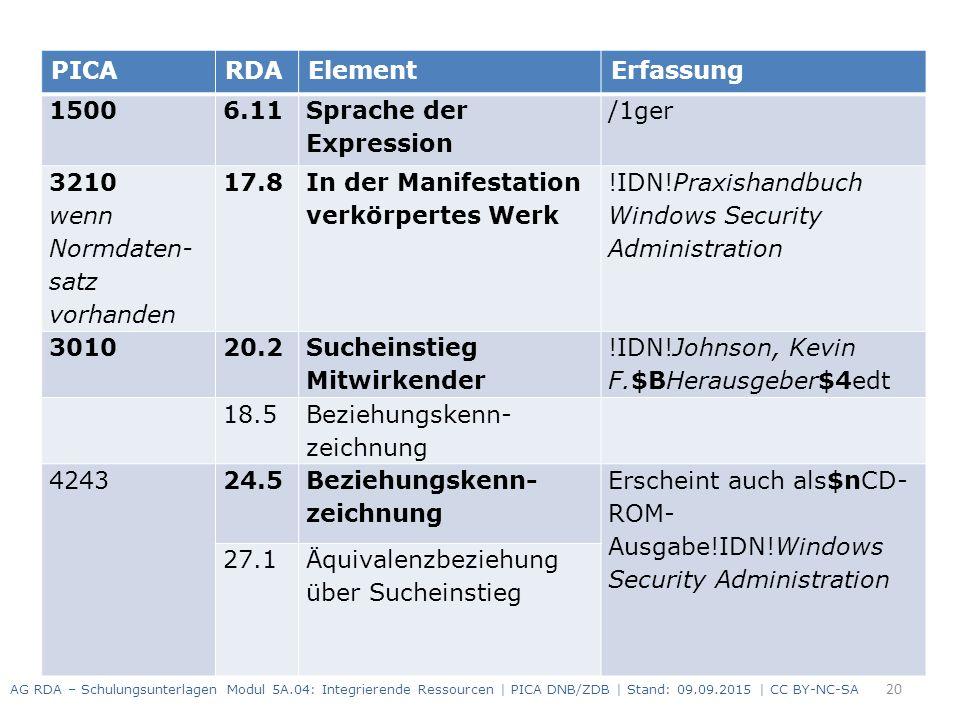 20 PICARDAElementErfassung 1500 6.11 Sprache der Expression /1ger 3210 wenn Normdaten- satz vorhanden 17.8 In der Manifestation verkörpertes Werk !IDN