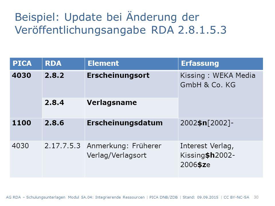 30 PICARDAElementErfassung 4030 2.8.2Erscheinungsort Kissing : WEKA Media GmbH & Co. KG 2.8.4Verlagsname 11002.8.6Erscheinungsdatum2002$n[2002]- 40302