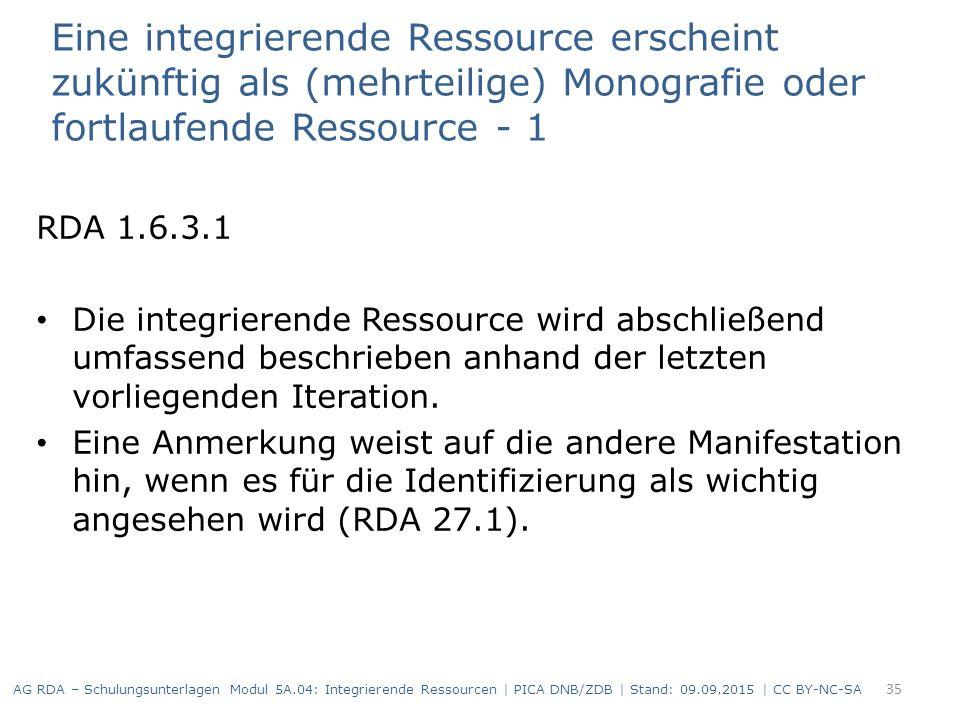 Eine integrierende Ressource erscheint zukünftig als (mehrteilige) Monografie oder fortlaufende Ressource - 1 RDA 1.6.3.1 Die integrierende Ressource