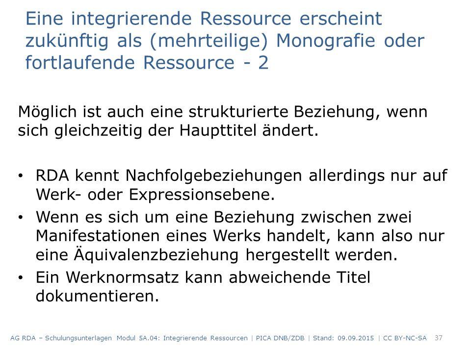 Eine integrierende Ressource erscheint zukünftig als (mehrteilige) Monografie oder fortlaufende Ressource - 2 Möglich ist auch eine strukturierte Bezi